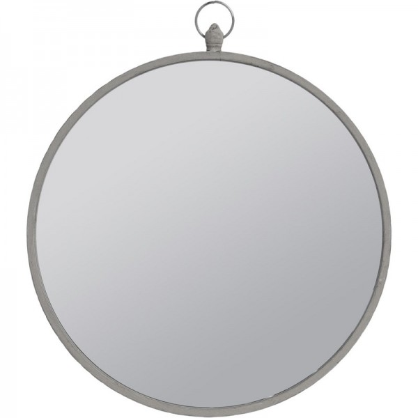 Round Mirror with Grey Metal Frame and Top Handle - Large