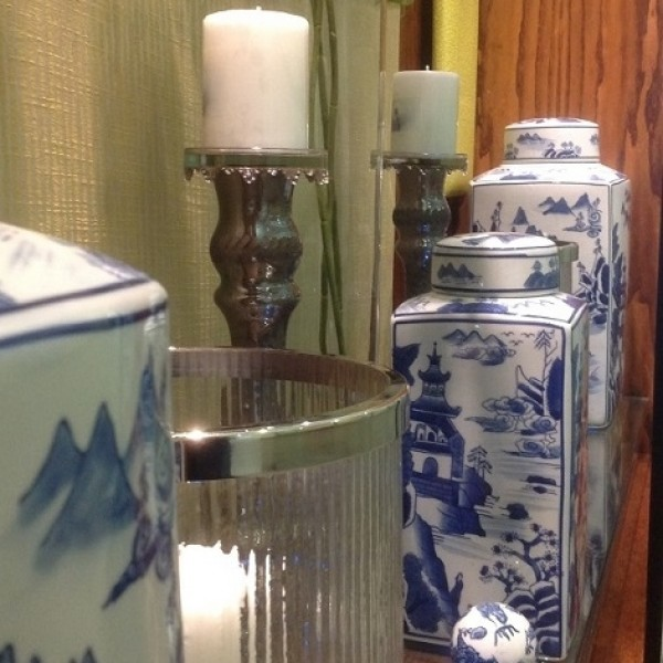 Dalian Blue and White Chinese Tea Jar- Small