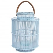 Round Rattan & Bamboo Lantern - Light Blue