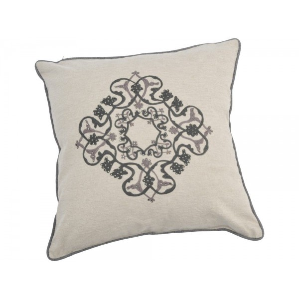 Augustine Small Square Embellished Cotton Cushion