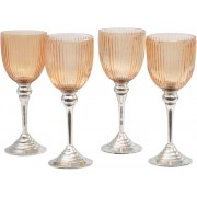 Set of 4 Small Peach Ribbed Tea light Holders
