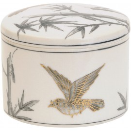 Bunting Bird Gilded Ceramic Trinket Jar