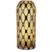 Amber and Black Tall Glass Vase