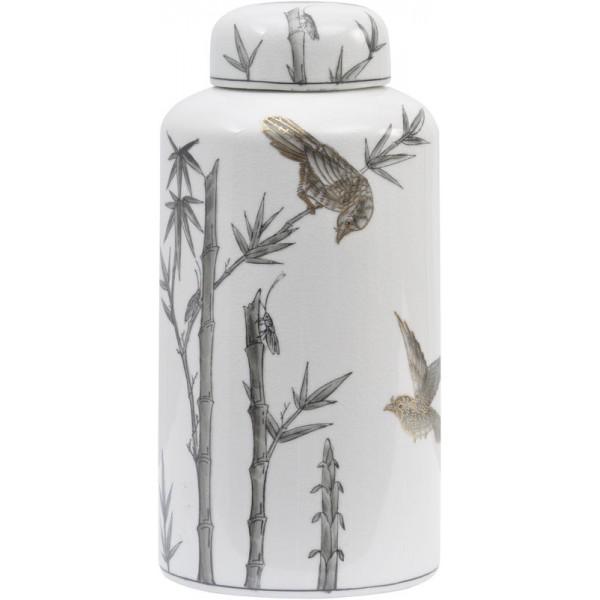 Bunting Bird Gilded Ceramic Jar