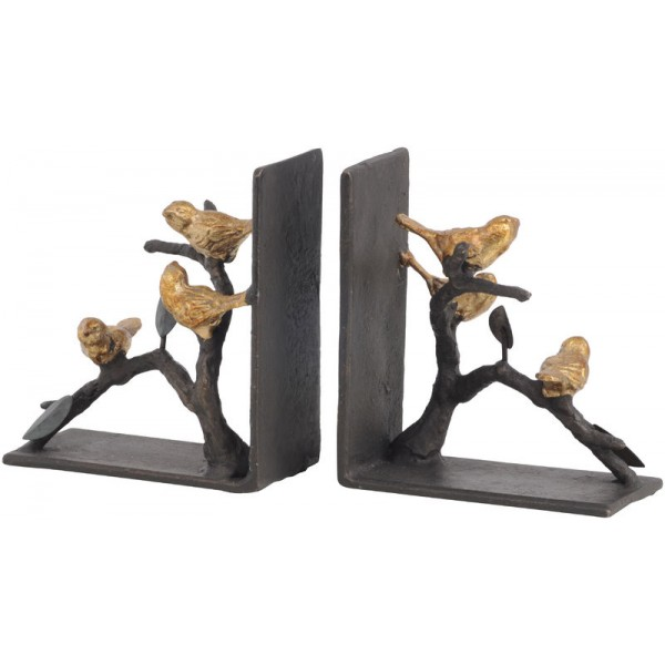 Golden Songbird Metal Bookends