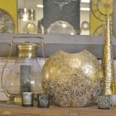 Mottled Gold Aluminium Disc Vase