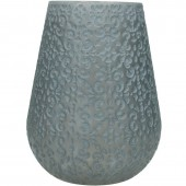 Patterned Glass Candle Holder in Grey - Large