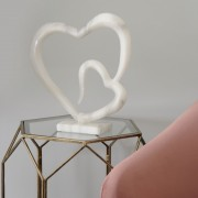 White Marble-finish Double Heart Sculpture