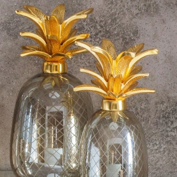 Glass Pineapple Sculpture Smokey Brown - Large