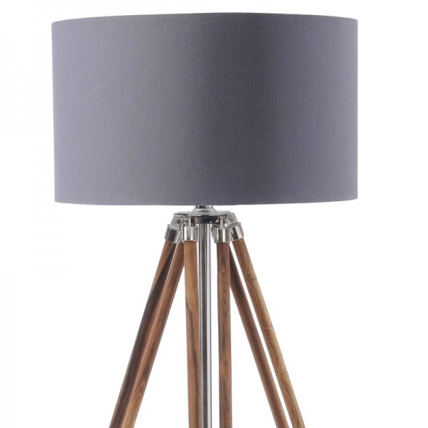 Rowley Natural Wood Tripod with Navy Shade