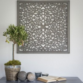 Grey Hand Carved Wall Panel - Medium