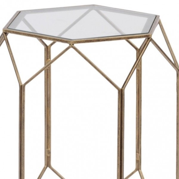 Platonic Antique Gold Side Table