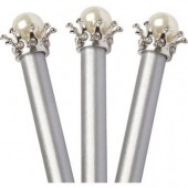 Crown and Pearl Pencil Set of 3 - Silver