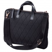 Quilted Laptop Bag - Black - with Rose Gold Detail