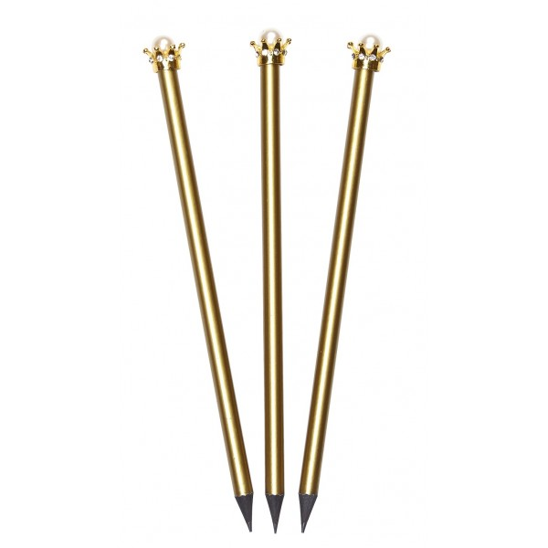 Crown and Pearl Pencil - Set of 3 - Gold