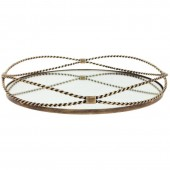 Round Gold Iron Tray with Fine Rope Detail