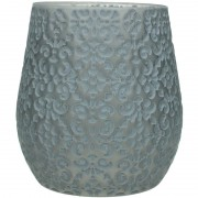 Patterned Glass Candle Holder in Grey - Small