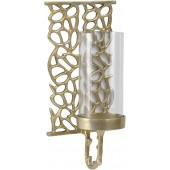 Coral Cage Gold Coloured Aluminium and Glass Wall Sconce-Medium
