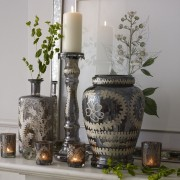 Etched Glass Candle Stand