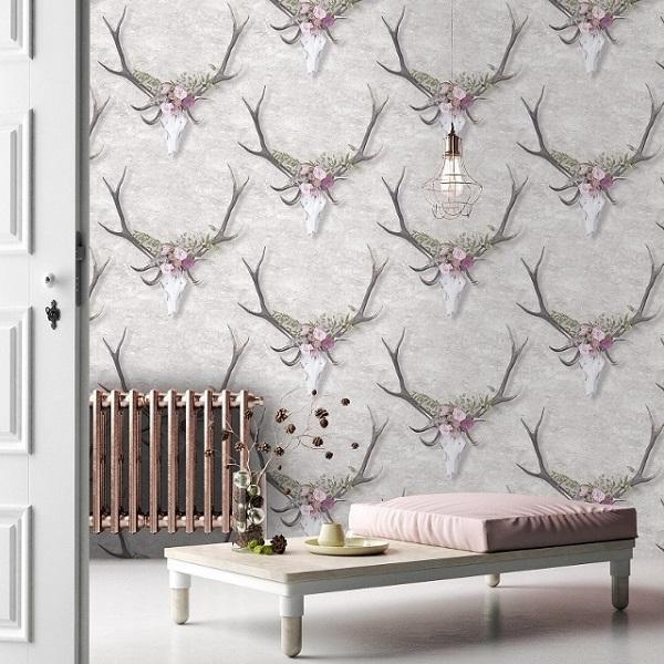Designer Stag Head Wallpaper Yorkshire UK United Furnishings