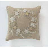 Wreath Cushion - Hand Embroidered